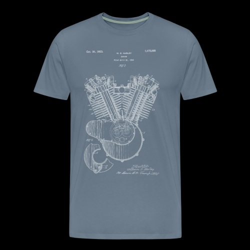 Authentic V-twin HD Motorcycle Engine Patent 1919 - Men's Premium T-Shirt