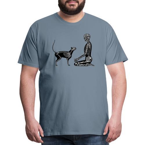 Skeleton Human and Cat - Men's Premium T-Shirt