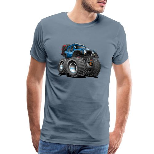 Off road 4x4 blue jeeper cartoon - Men's Premium T-Shirt