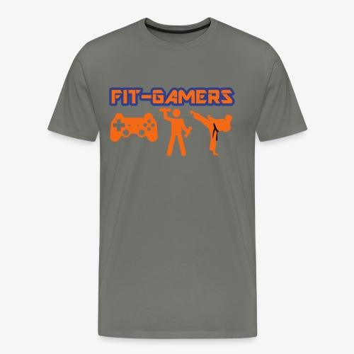 FIT-GAMERS Logo w/ Icons - Men's Premium T-Shirt