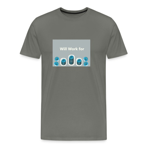 Will_work_for_buttons - Men's Premium T-Shirt