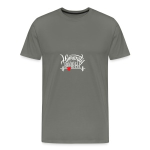 Humanity Barbell White w/Red Heart - Men's Premium T-Shirt