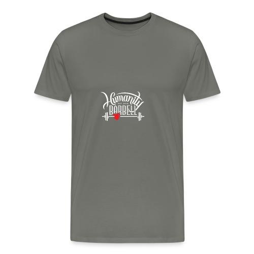 Humanity Barbell White w/Red Heart - Men's Premium T-Shirt