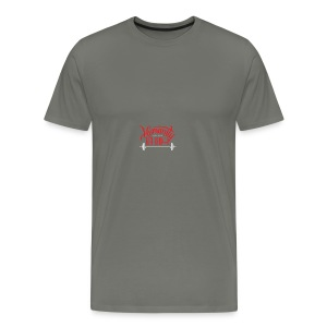 Crossfit Humanity Barbell - Red and White - Men's Premium T-Shirt