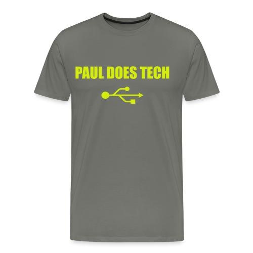 Paul Does Tech Logo Yellow With USB (BS) - Men's Premium T-Shirt
