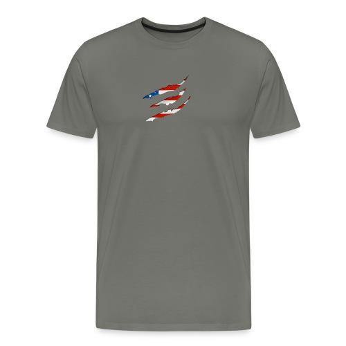 3D American Flag Claw Marks T-shirt for Men - Men's Premium T-Shirt