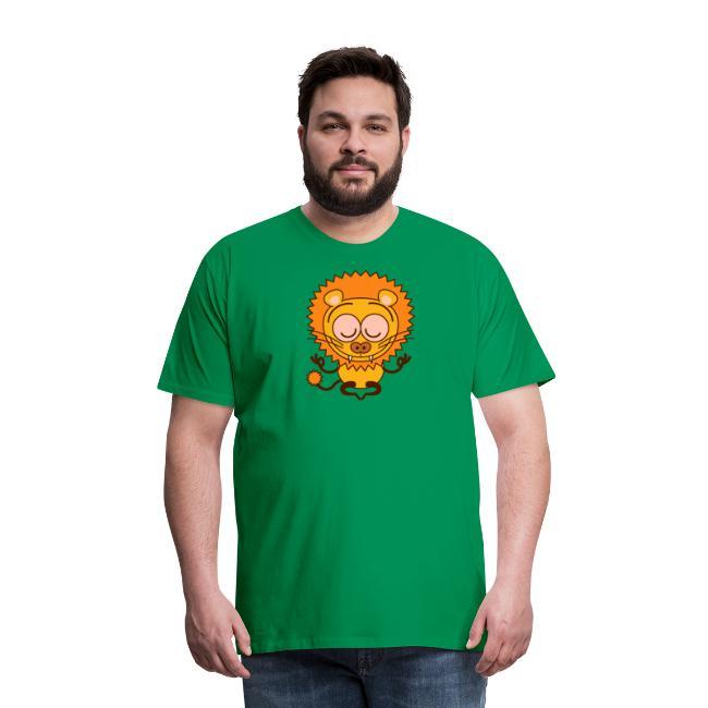 Wild lion performing a meditation in lotus pose