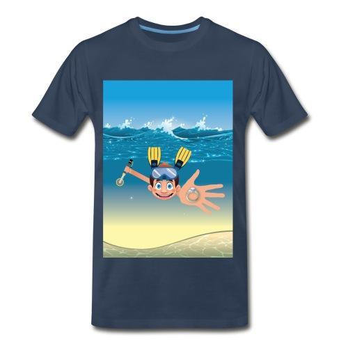 Metal Detecting in Water Ring Flippers NoText - Men's Premium T-Shirt