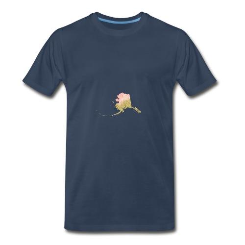 Watercolor Alaska Sate Peach & Gold - Men's Premium T-Shirt