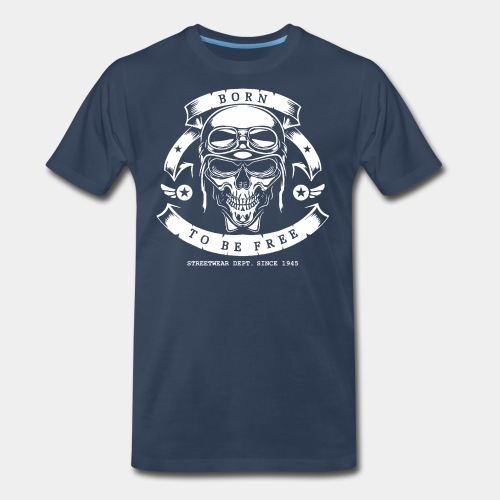 pilot skull born free - Men's Premium T-Shirt