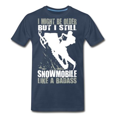 Snowmobiling Old Guy - Men's Premium T-Shirt