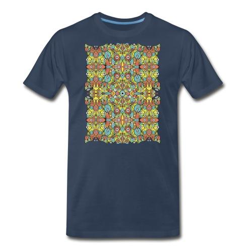 Odd creatures multiplying in a symmetrical pattern - Men's Premium T-Shirt
