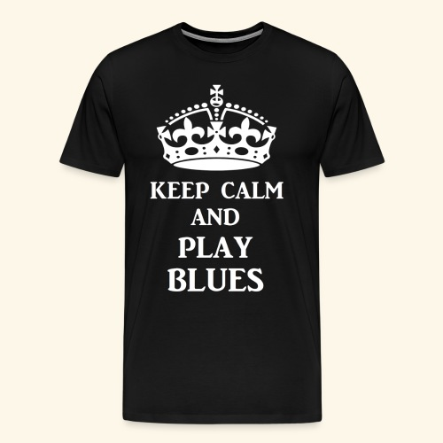 keep calm play blues wht - Men's Premium T-Shirt