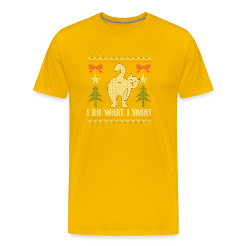 Ugly Christmas Sweater I Do What I Want Cat - Men's Premium T-Shirt