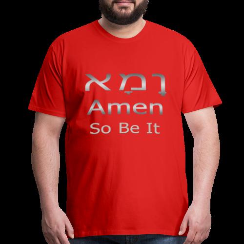 Cool Christian Amen So Be It Hebrew Letters - Men's Premium T-Shirt