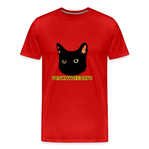 PunchTheEarth Cat with Text - Men's Premium T-Shirt