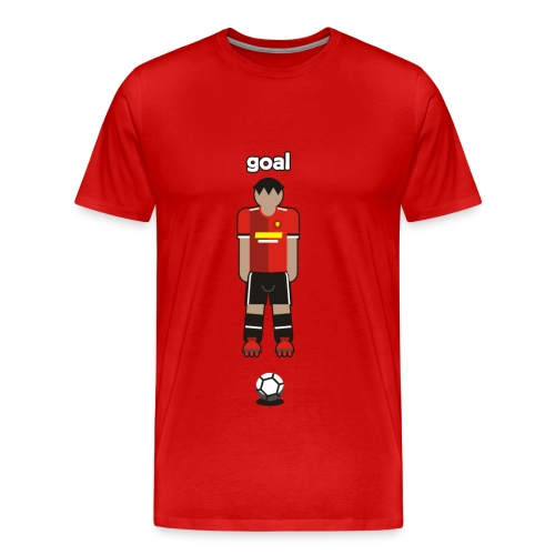 Goal, Red Football Player like Manchester UTD - Men's Premium T-Shirt