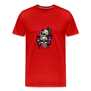 SKULLS WITH BUTTERFLIES AND DAISIES - Men's Premium T-Shirt
