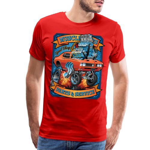 Classic Sixties Muscle Car Parts & Service Cartoon - Men's Premium T-Shirt