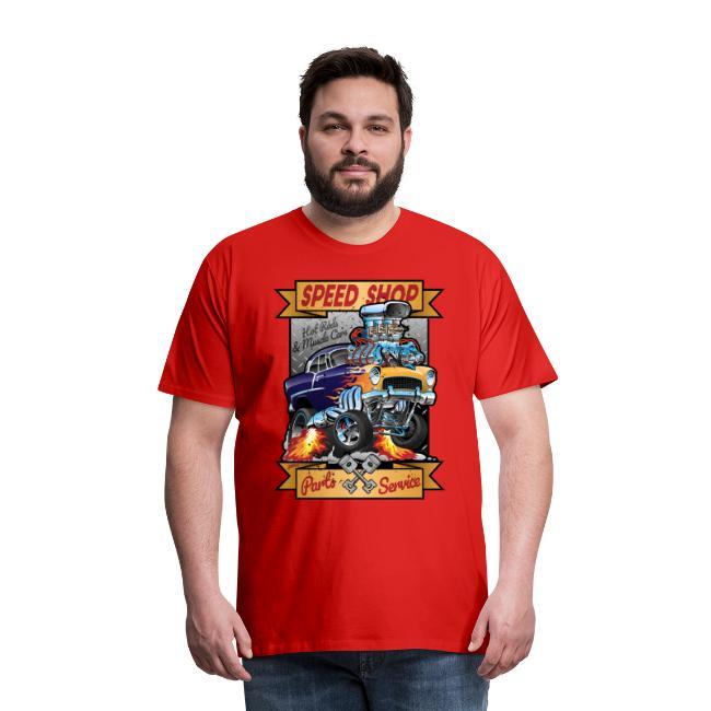Speed Shop Hot Rod Muscle Car Cartoon Illustration