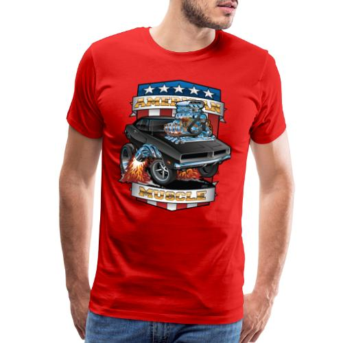 American Muscle Patriotic Muscle Car Cartoon - Men's Premium T-Shirt