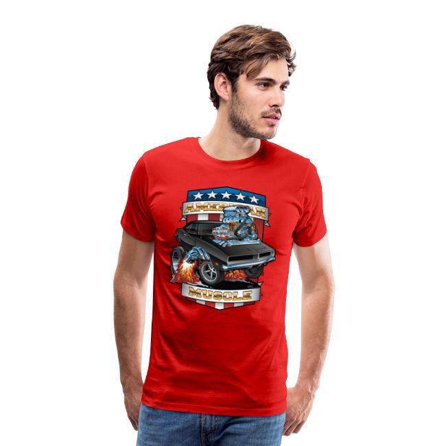 American Muscle Patriotic Muscle Car Cartoon
