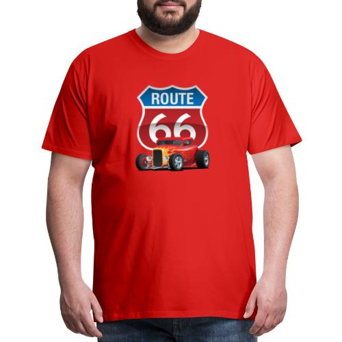 Route 66 Sign with Classic American Red Hotrod - Men's Premium T-Shirt