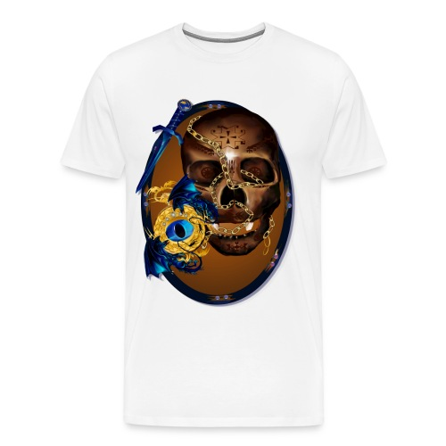 Oval-Dark Skull with Evil - Men's Premium T-Shirt