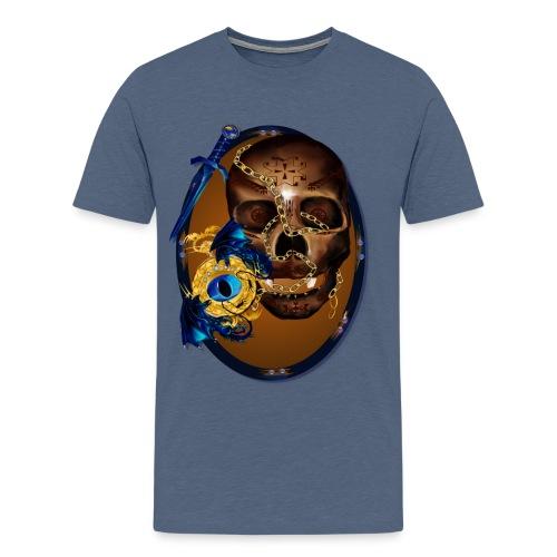 Oval-Dark Skull with Evil - Men's Premium T-Shirt