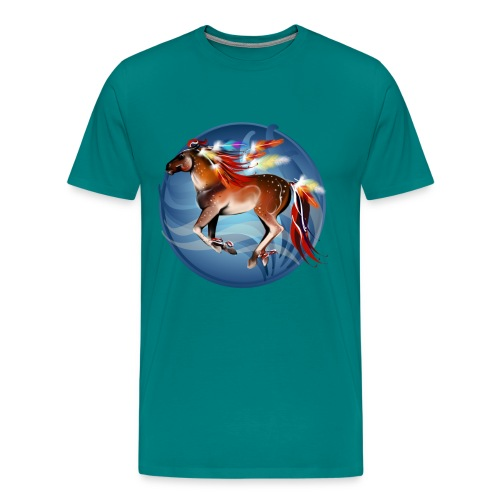 Horse N Bright Feathers Framed - Men's Premium T-Shirt