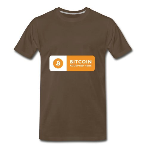 Bitcoin Accepted Here Logo Symbol Cryptocurrency - Men's Premium T-Shirt