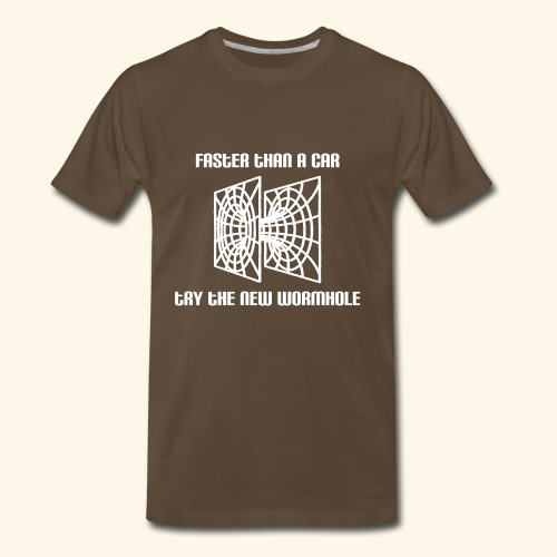 wormhole is faster than a car - white version - Men's Premium T-Shirt