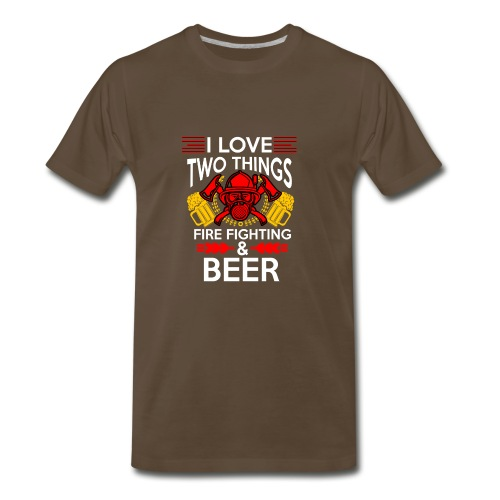 I love Fire Fighter And Beer T-shirt - Men's Premium T-Shirt