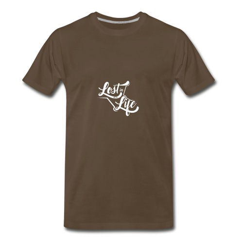 Lost in Life White on Dark logo small - Men's Premium T-Shirt