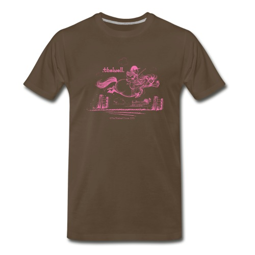 PonyJump Pink Thelwell Cartoon - Men's Premium T-Shirt