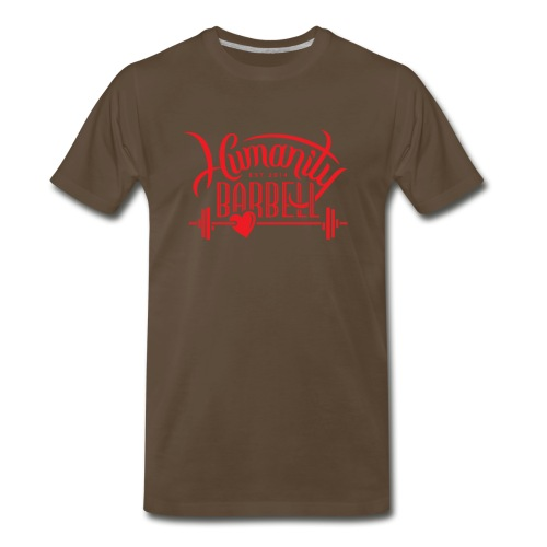 Humanity Barbell Red with Heart - Men's Premium T-Shirt