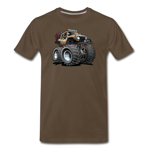 Off road 4x4 desert tan jeeper cartoon - Men's Premium T-Shirt