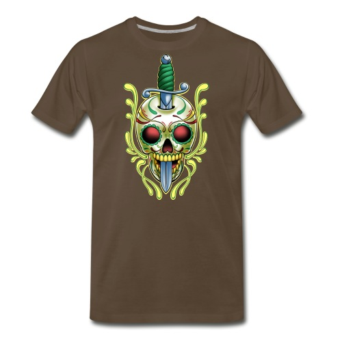 DoD Skull w/Sword by RollinLow - Men's Premium T-Shirt
