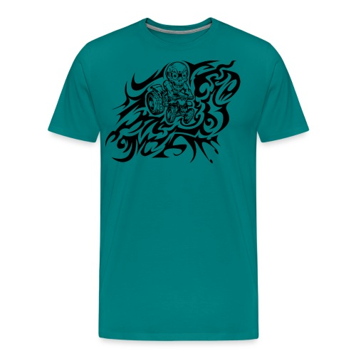 Flamed Skully Quad - Men's Premium T-Shirt