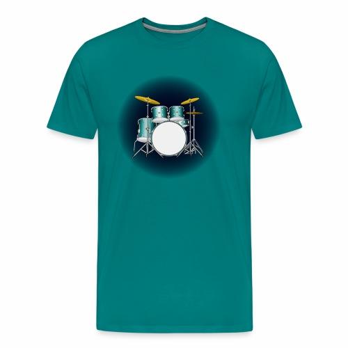 Drum Set In Retro Blue. - Men's Premium T-Shirt