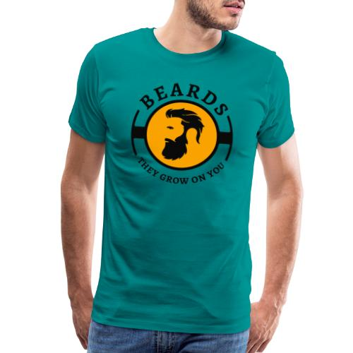 Beards, they grow on you | Minimal Orange Design - Men's Premium T-Shirt