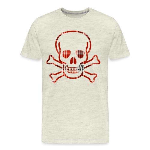 Skull & Cross Bones Red Plaid - Men's Premium T-Shirt