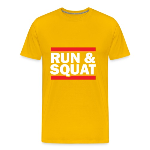 Run Squat White on Dark by Epic Greetings - Men's Premium T-Shirt