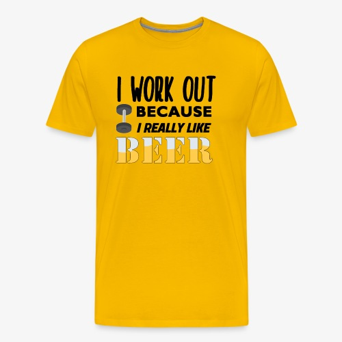 I Work Out For Beer - Men's Premium T-Shirt
