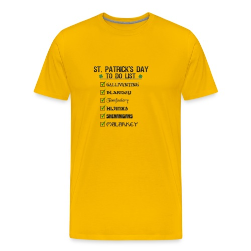 St Patrick's Day To Do List Funny Blarney Malarkey - Men's Premium T-Shirt