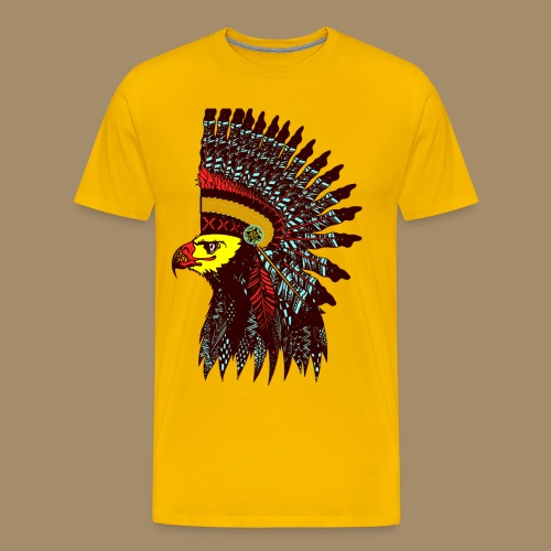 Tribal Eagle Totem with Headdress - Men's Premium T-Shirt