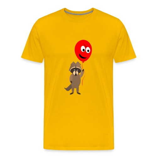 Raccoon and Balloon Cartoon Shirt - Men's Premium T-Shirt