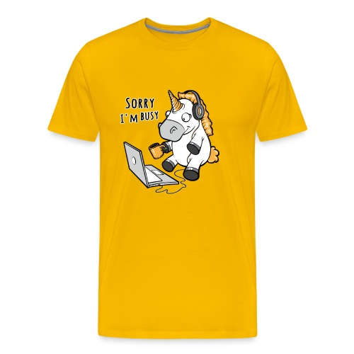 Sorry i'm busy, funny unicorn, music T Shirt - Men's Premium T-Shirt