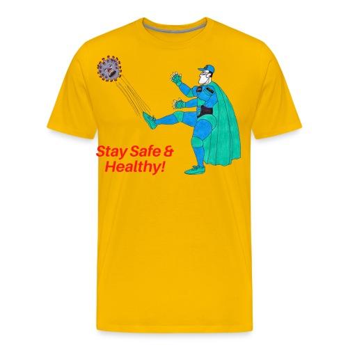 PYGOD Man kicking COVID 19 - Stay Safe Healthy - Men's Premium T-Shirt