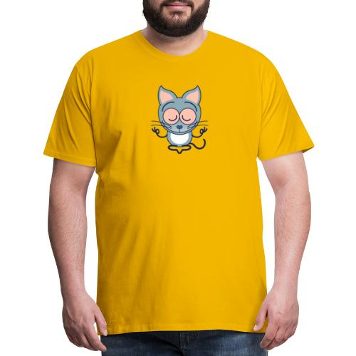 Gray cat meditating in joyful mood - Men's Premium T-Shirt